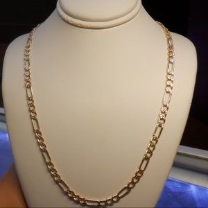 14k solid real gold tricolor diamond cut chain